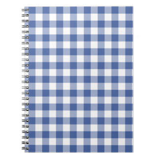 螺線形ノートの、濃紺および白い点検のギンガム ノートブック