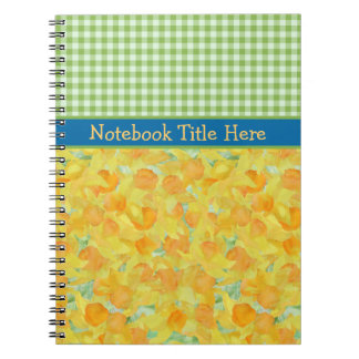 螺線形ノート、ラッパスイセン、緑の点検のギンガム ノートブック