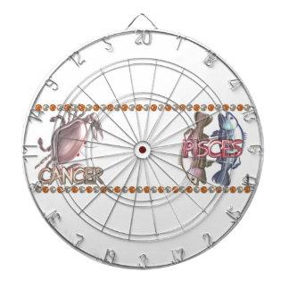 蟹座の魚類の(占星術の)十二宮図の占星術の友情 ダーツボード