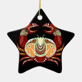 蟹座の(占星術の)十二宮図-カニ 陶器製星型オーナメント