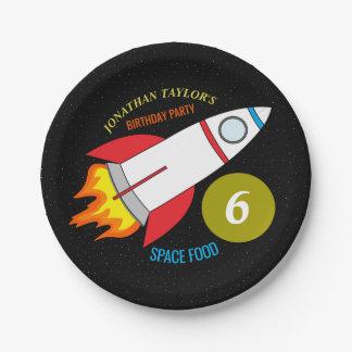 蟹座生まれの人の誕生日への宇宙ロケット ペーパープレート
