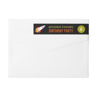 蟹座生まれの人の誕生日への宇宙ロケット ラップアラウンド返信用宛名ラベル