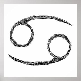 蟹座。 (占星術の)十二宮図の占星術の印 ポスター