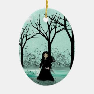 蟹座- (占星術の)十二宮図の女の子-オーナメント 陶器製卵型オーナメント