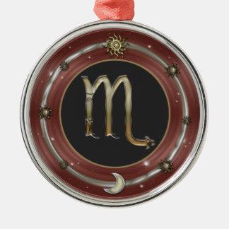 蠍座の(占星術の)十二宮図の印 シルバーカラー丸型オーナメント