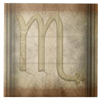 蠍座の(占星術の)十二宮図の印 タイル