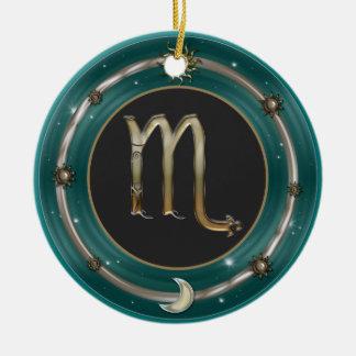 蠍座の(占星術の)十二宮図の印 陶器製丸型オーナメント