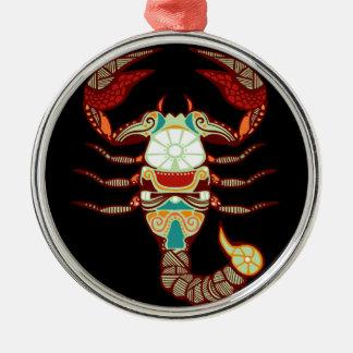 蠍座の(占星術の)十二宮図-蠍 シルバーカラー丸型オーナメント
