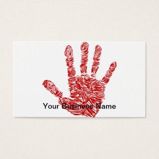 血の恐怖赤い手のプリントのスケッチ 名刺