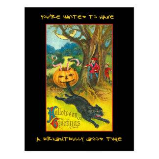 血の文字とのヴィンテージのハローウィンパーティの招待 ポストカード