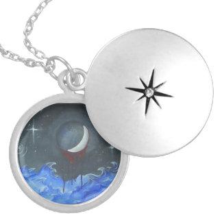血の月および星のネックレス ロケットネックレス