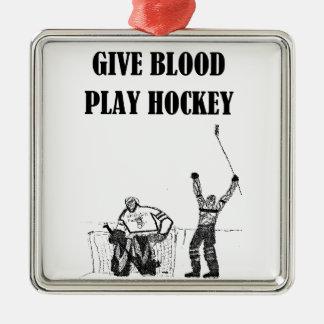 血の演劇のホッケーを与えて下さい メタルオーナメント
