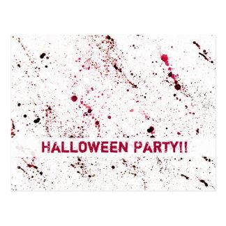 血の(ばちゃばちゃ)跳ねるのおもしろいのハロウィンの赤い恐怖 ポストカード