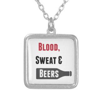 血、汗及びビール シルバープレートネックレス