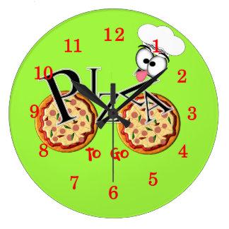 行くおもしろいのノベルティピザ ラージ壁時計