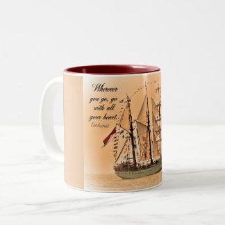 行くところはどこでも-コーヒー・マグ-- 孔子の引用文 ツートーンマグカップ