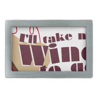行くワイン 長方形ベルトバックル