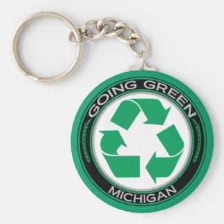 行く緑のリサイクルミシガン州 キーホルダー