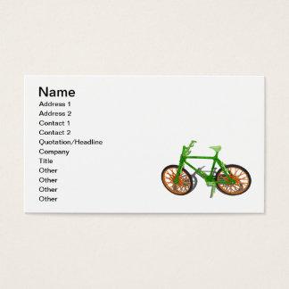 行く緑の自転車木草 名刺