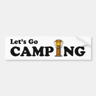 行こうキャンプのランタンのバンパーステッカー バンパーステッカー