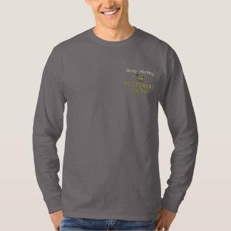 行った捜す退職の石! 刺繍入り長袖Tシャツ