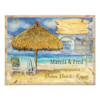 行先の楽園、熱帯ビーチの保存日付 10.8 X 14 インビテーションカード