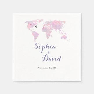 行先の結婚式旅行水彩画の世界地図 スタンダードカクテルナプキン