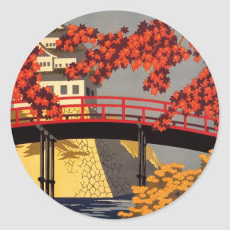 行先: 日本旅行ポスターステッカー ラウンドシール