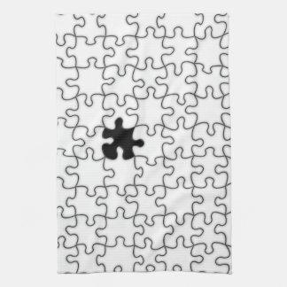 行方不明のパズルの部分パターン キッチンタオル