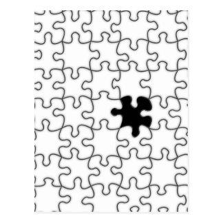 行方不明のパズルの部分パターン ポストカード