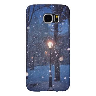 街灯のまわりで渦巻く雪 SAMSUNG GALAXY S6 ケース