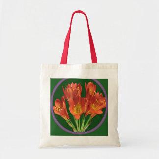 衝動2色のトートの赤い花の赤のハンドル トートバッグ