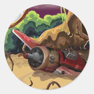 衝突された世界大戦の戦闘機 丸形シール・ステッカー