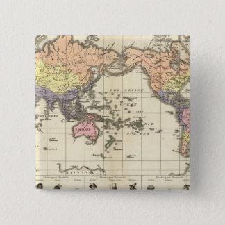 衣類のスタイルの世界地図 5.1CM 正方形バッジ