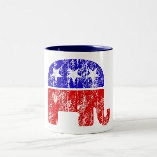 衰退した共和党象 ツートーンマグカップ