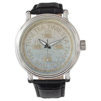 衰退した勾配の茶時間金ゴールド 腕時計