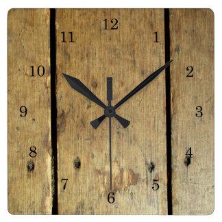 衰退した木製の板 スクエア壁時計