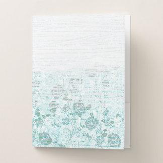 衰退した白および青のバラの質 ポケットフォルダー