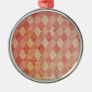 衰退した赤くアーガイル柄のな壁紙パターン メタルオーナメント