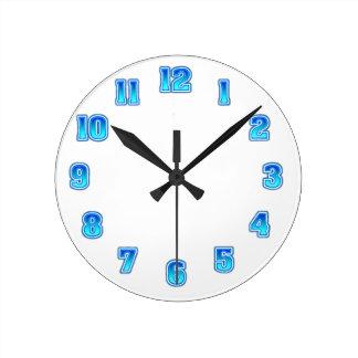 衰退の青い時計のテンプレート ラウンド壁時計