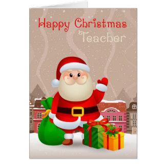 袋およびギフトのクリスマスカードを持つサンタ先生 カード
