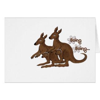 袋のBoing旅行カードのカンガルー家族のベビー カード