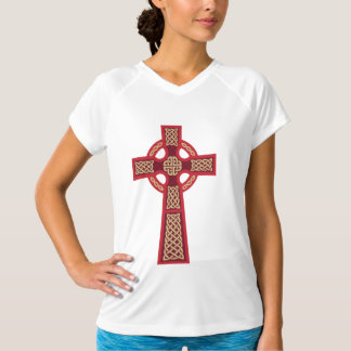 袖なし赤いケルト十字のLadieのマイクロ繊維 Tシャツ