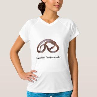 袖なしUsambaraのムカデ食べる人マイクロ繊維 Tシャツ