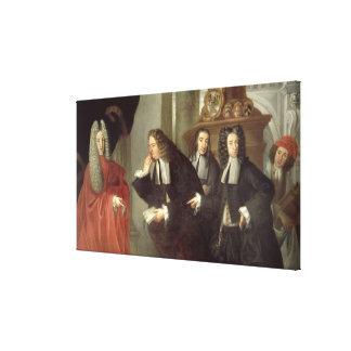 裁判官および3人の支持者のベニス風の学校(油 キャンバスプリント