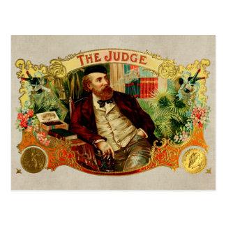 裁判官のヴィンテージのタバコ入れのラベル ポストカード