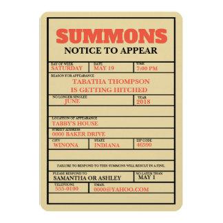 裁判所はバチェロレッテの招待状を呼び出します カード