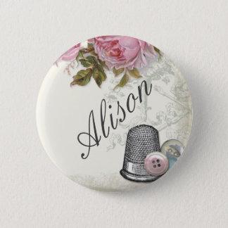 裁縫の概念アイボリー、名前入りの記章 缶バッジ