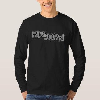 裂け目\引き裂かれたロゴの長袖のTシャツ Tシャツ