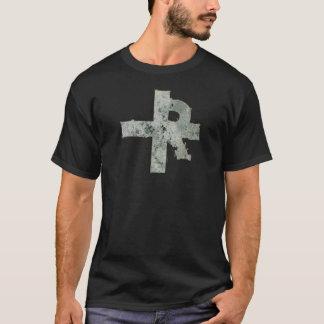 裂け目\引き裂かれた十字のロゴのTシャツ Tシャツ
